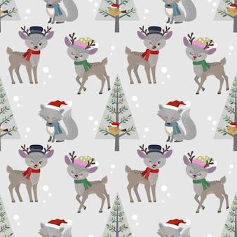 Bonitinho veado e lobo com padrão sem emenda de chapéu de natal.