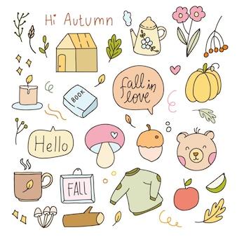 Bonito adesivo cair outono elemento dos desenhos animados ilustração doodle emblemas. conjunto de coleta de planejador de ícone de mão desenhada.