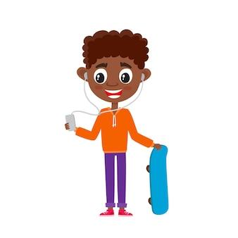Bonito adolescente africano com presente em estilo cartoon, isolado no branco. ilustração