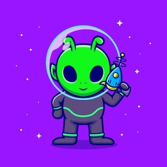 Bonito alienígena segurando arma ilustração ícone dos desenhos animados.