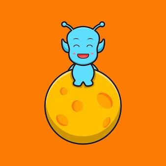 Bonito alienígena sentar-se na ilustração do ícone do vetor dos desenhos animados da lua. projeto isolado. estilo liso dos desenhos animados.