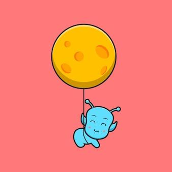Bonito alienígena voando com ilustração de ícone de vetor de desenhos animados de lua. projeto isolado. estilo liso dos desenhos animados.