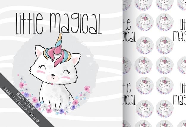 Bonito animal bebê caticorn mágico com padrão sem emenda