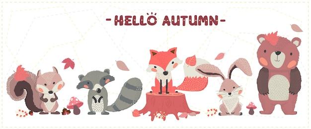 Bonito animal floresta feliz outono fox, castor, esquilo, coelho e urso definir idéia para banner e impressão de cartão