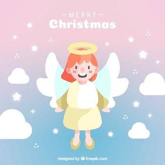 Bonito anjo de natal em um céu lilás
