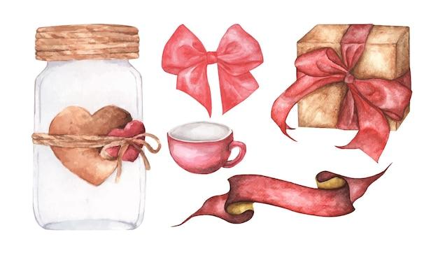 Bonito aquarela ilustração romântica conjunto de elementos de design.