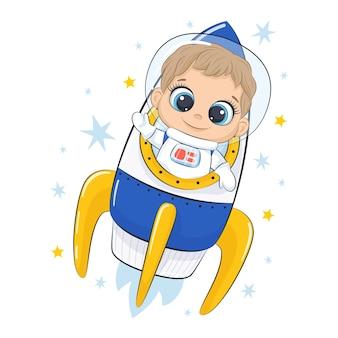Bonito astronauta com nave espacial e estrelas.