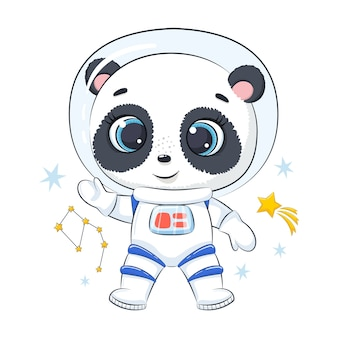 Bonito astronauta panda com estrelas.