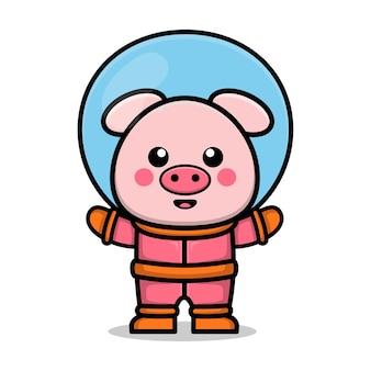 Bonito astronauta porco desenho animado animal ilustração de conceito de espaço