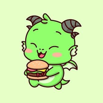 Bonito bebê verde dragão sorrindo e trazer um grande delicioso hambúrguer