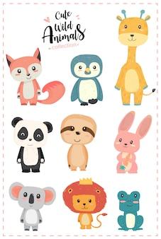 Bonito berçário animal selvagem pastel mão desenhada coleção pinguim, girafa, panda, preguiça, coelho, koala, leão, sapo