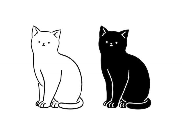 Bonito branco & gato preto sentado, linha arte, ilustração de estilo desenhados à mão.