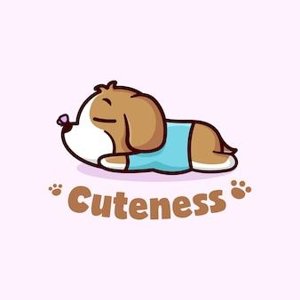 Bonito cachorro marrom pequeno dormindo na ilustração do desenho animado