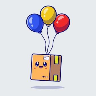 Bonito caixa flutuando com ilustração do ícone do vetor do balão. conceito de ícone de objeto industrial isolado vetor premium. estilo flat cartoon