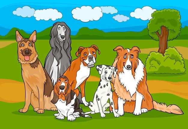 Bonito cão de raça pura ilustração de desenhos animados do grupo