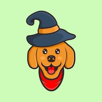 Bonito cão desenhos animados vetor vetor com chapéu halloween