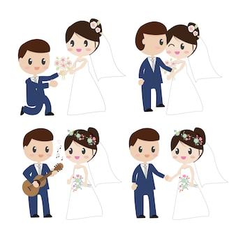 Bonito, caricatura, bonito, noiva noivo, pares, em, vestido casamento