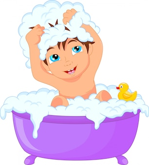 Bonito, caricatura, menino, tendo, banho