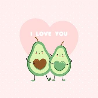 Bonito cartão com amantes de abacate.