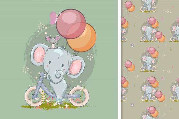 Bonito cartão com elefante fofo e padrão sem emenda