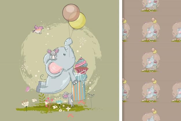 Bonito cartão com elefante fofo e padrão sem emenda Vetor Premium