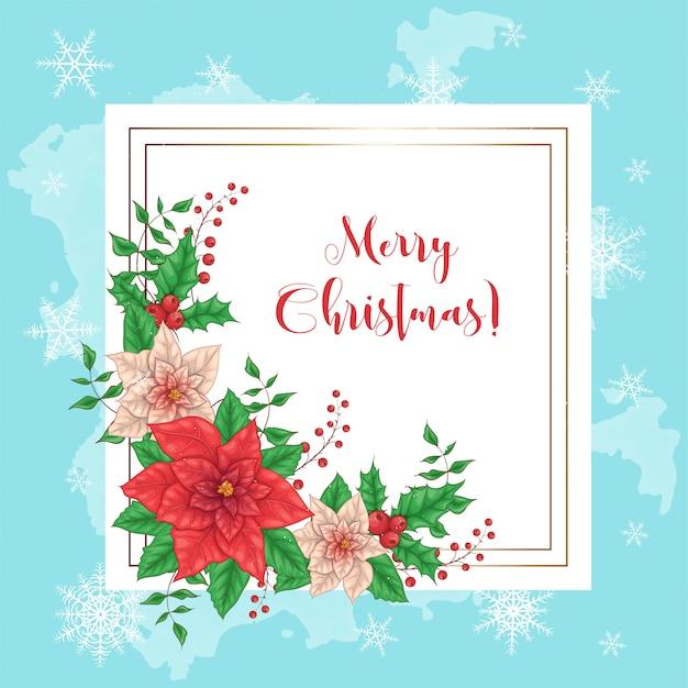 Bonito cartão de feliz natal com coroa de flores poinsettia