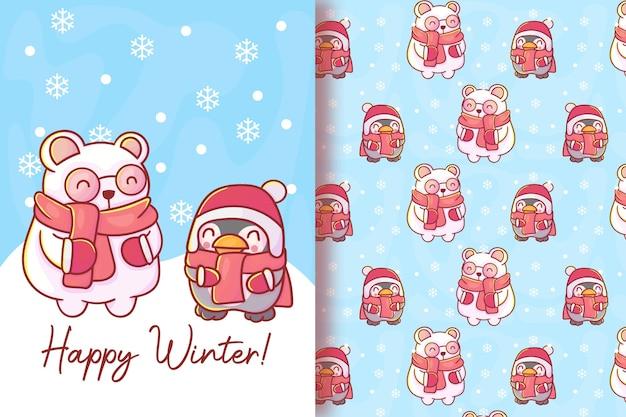 Bonito cartão polar e pinguim com padrão sem emenda.