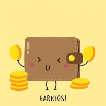 Bonito carteira feliz ganhando moedas vector design