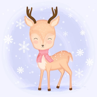 Bonito cervo com floco de neve dos desenhos animados mão desenhada
