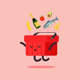 Bonito cesto de compras com personagem de desenho animado de vetor de comida isolada.