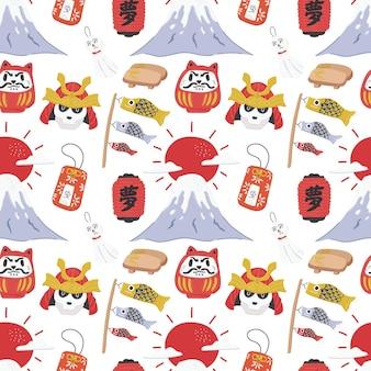 Bonito colorido japonês doodle teste padrão sem emenda