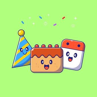 Bonito conjunto aniversário personagens bolo, chapéu e ilustração plana dos desenhos animados do calendário.