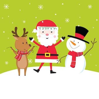Bonito conjunto de caracteres de natal com papai noel, renas e boneco de neve