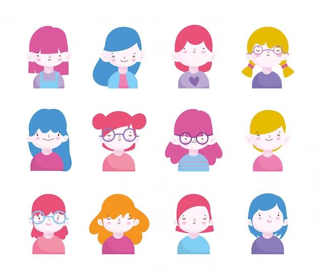 Bonito conjunto de retrato de personagens de meninos e meninas