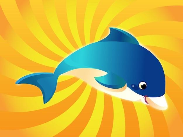 Bonito corar vetor golfinho feliz