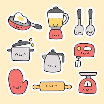 Bonito, cozinha, ferramentas, adesivo, mão, desenhado, caricatura, cobrança