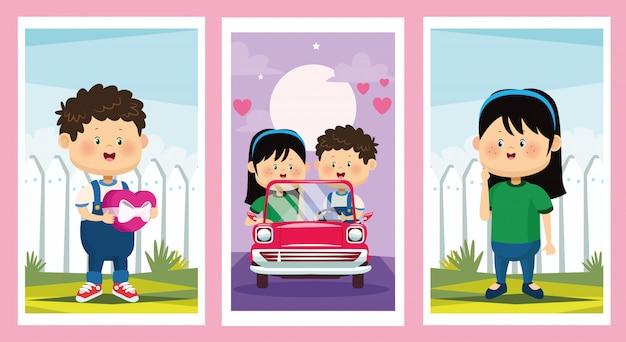 Bonito crianças casais personagens do grupo