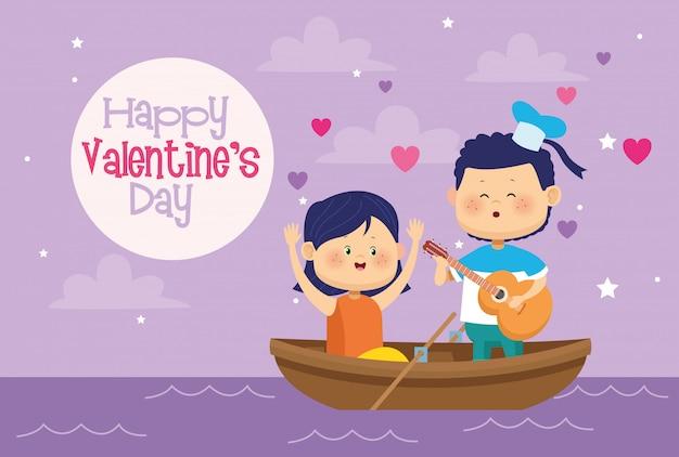 Bonito crianças casal em canoa cartão de dia dos namorados