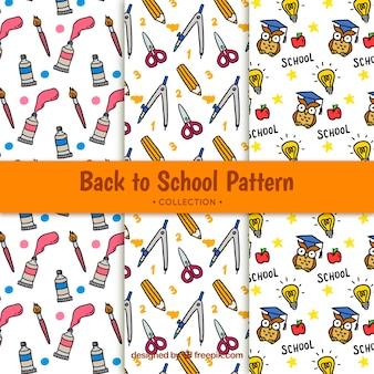 Bonito de volta ao padrão de escola com desenhos