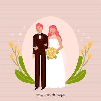 Bonito, desenhado mão, par casando