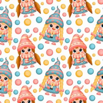 Bonito desenho animado natal gnomos meninas padrão sem emenda