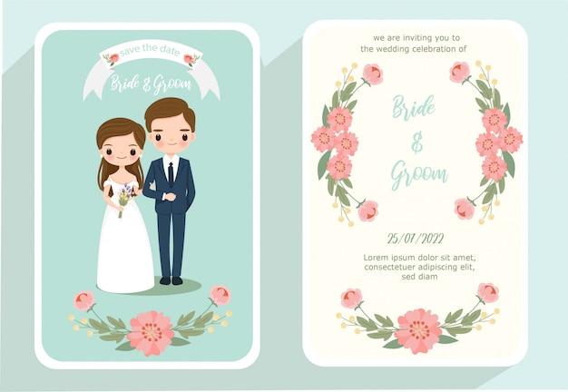 Bonito desenho de noiva e noivo no cartão de convite de casamento