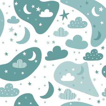 Bonito desenho de nuvem e céu verde doodle padrão sem emenda