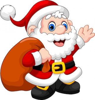 Bonito desenho de papai noel acenando e carregando o presente de natal