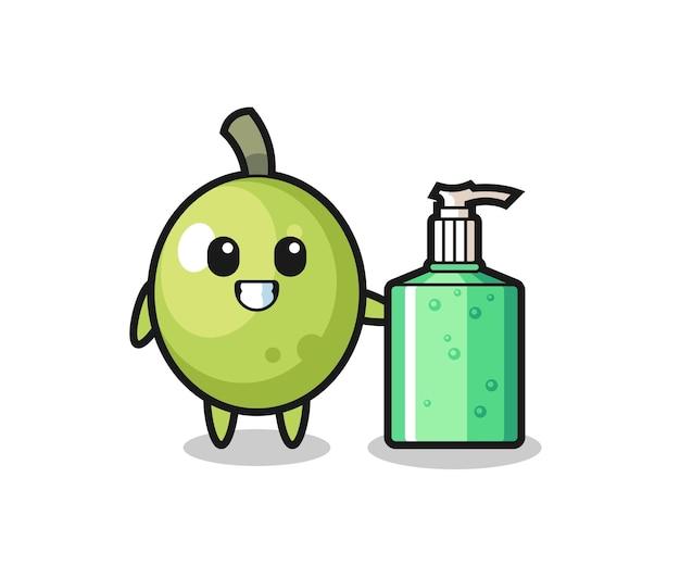 Bonito desenho verde-oliva com desinfetante para as mãos, design de estilo fofo para camiseta, adesivo, elemento de logotipo