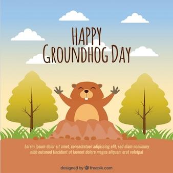 Bonito do fundo do dia de groundhog feliz
