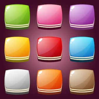 Bonito doce colorido conjunto forma quadrada.