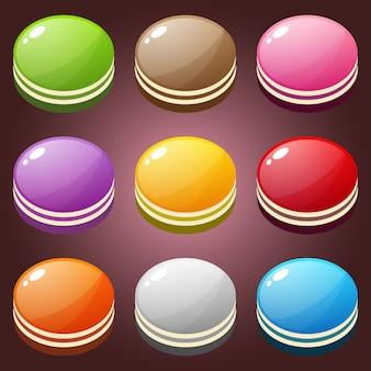 Bonito doce colorido definir forma de círculo.