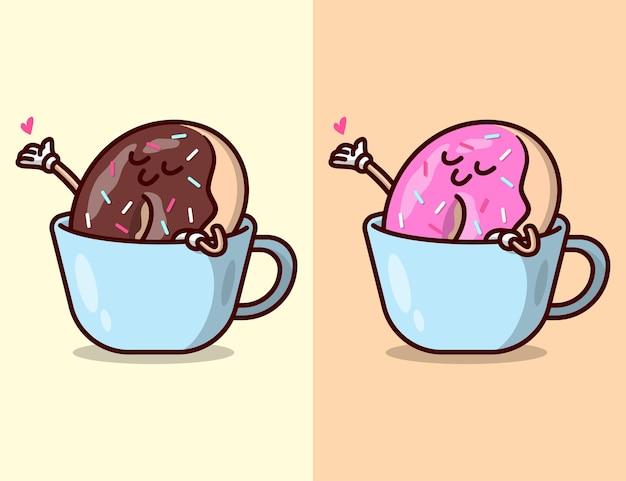 Bonito donut de morango e chocolate em um desenho animado de caneca