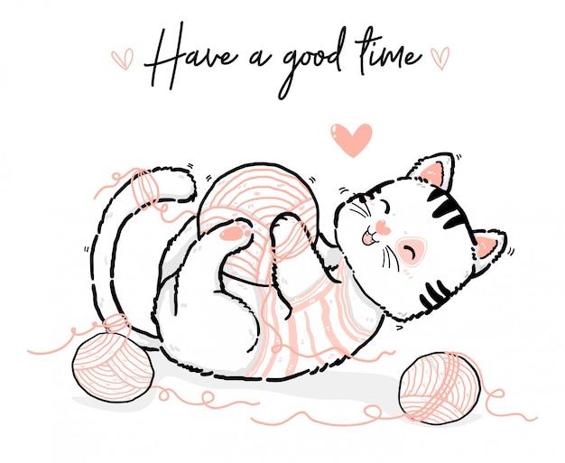 Bonito doodle feliz brincalhão fofo kiitty branco e rosa gato divertir-se com bola de algodão, mão de contorno desenhar ilustração plana